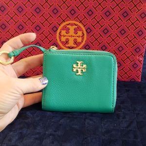 Tory Burch Turquoise Mercer Half Zip Card Case